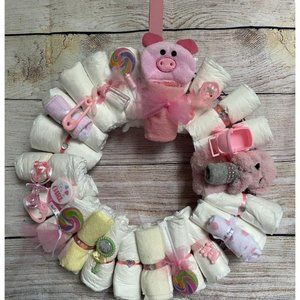 Diaper Wreath for Baby Girl with free Hanger